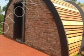 detail vnější úpravy povrchu obnažené části, dřevěné obložení